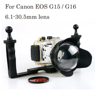 40m 130ft Waterproof Box Underwater Housing Camera Diving Case for Canon EOS G15 G16 6.1 30.5mm lens Bag Case Cover Bag