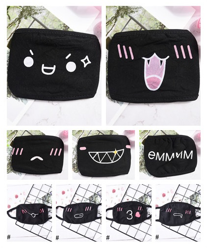 1PC Black Anti-Dust Cotton Mask Women Men Cute Bear Anime Cartoon Mouth Mask Kpop Teeth Mouth Muffle Face Mouth Masks