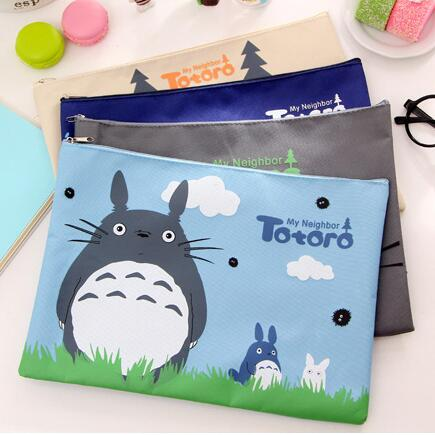 2020 Big Capacity Cute My Neighbor Totoro Oxford A4 File Folder Document Organizer Holder Storage Bag School Office Stationery