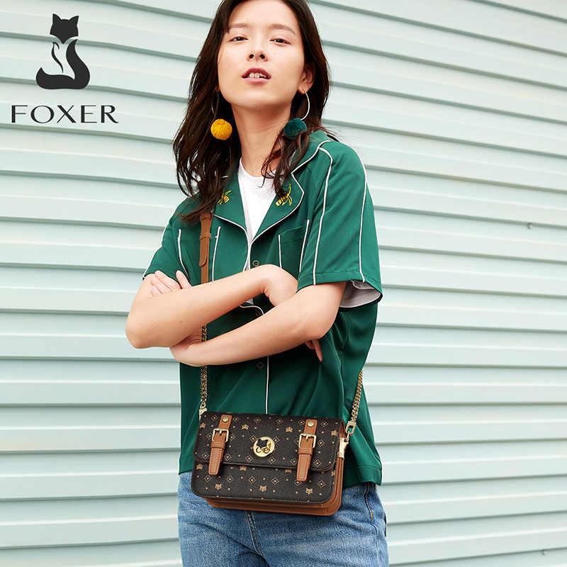 FOXER Wanita Tanda Tangan Flap Messenger Tas Wanita Tas Bahu Retro Gaya Korea Fashion Tas Selempang Kulit PVC