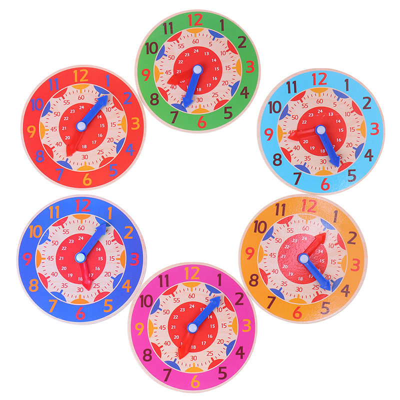 Colorful Clocks Children Montessori Wooden Clock Toys Hour Minute Second Cognition Toys For Kids Early Preschool Teaching Aids