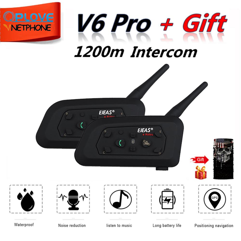 QPLOVE 2pcs EJEAS V6 Pro Intercom 1200m Motorcycle Bluetooth Helmet Intercom CSR Chip 2.4GHz FM 6 Riders 8H Talking With Scarf