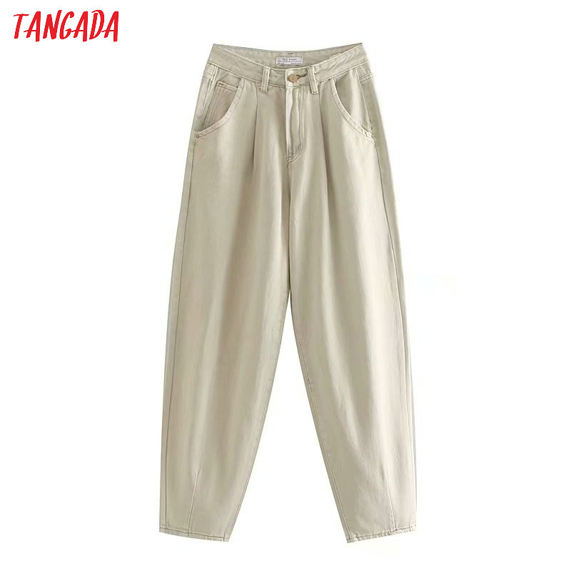 Tangada Fashion Women Loose Mom Jeans Long Trousers Pockets Zipper Loose Streetwear Female Pants 4M58