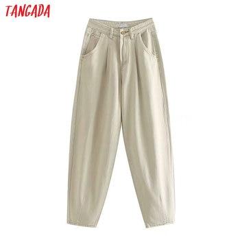 Tangada mode frauen lose mom jeans lange hosen taschen zipper lose streetwear weibliche hosen 4M58