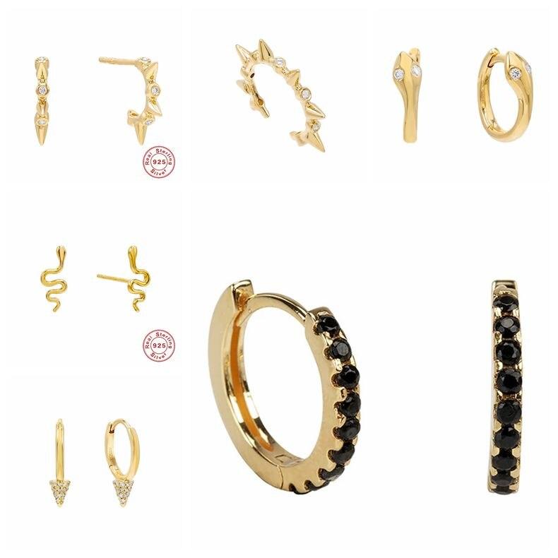 925 Sterling Silver Girl's Huggies Hoops Earrings Snake Black Stone Classic Minimal Charming Earrings Stud Thin Hoops Gift A30
