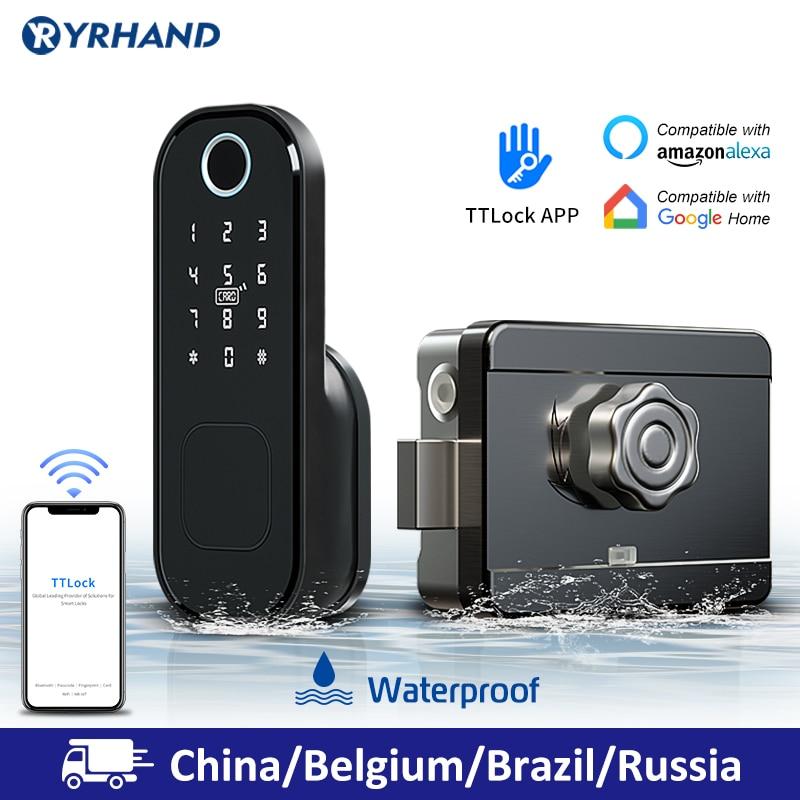 Rim-Lock Smart-Card Fingerprint Wifi Digital-Code Waterproof Electronic Home-Security