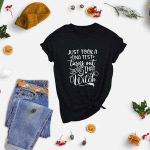 I Just Took A DNA Test Halloween I'm 100% That Witch Graphic Tee Women's Halloween T-Shirt Halloween Funny Shirt Tops Clothing(China)