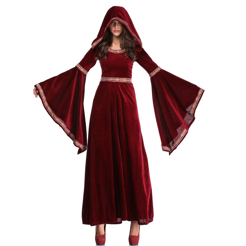 2019 New Style Halloween Wine Vampire Wizard Clothing Europe Retro Palace Dressing Up Palace Long Skirts