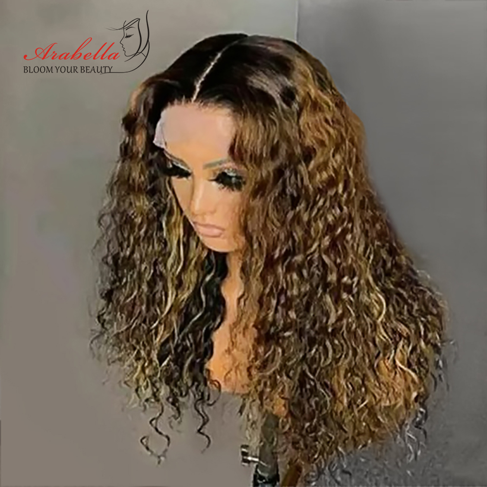 Water Wave Wig Highlight Lace Frontal Wig 100%  Wigs With Baby Hair Arabella  Hair Pre plucked Lace Closure Wig 2