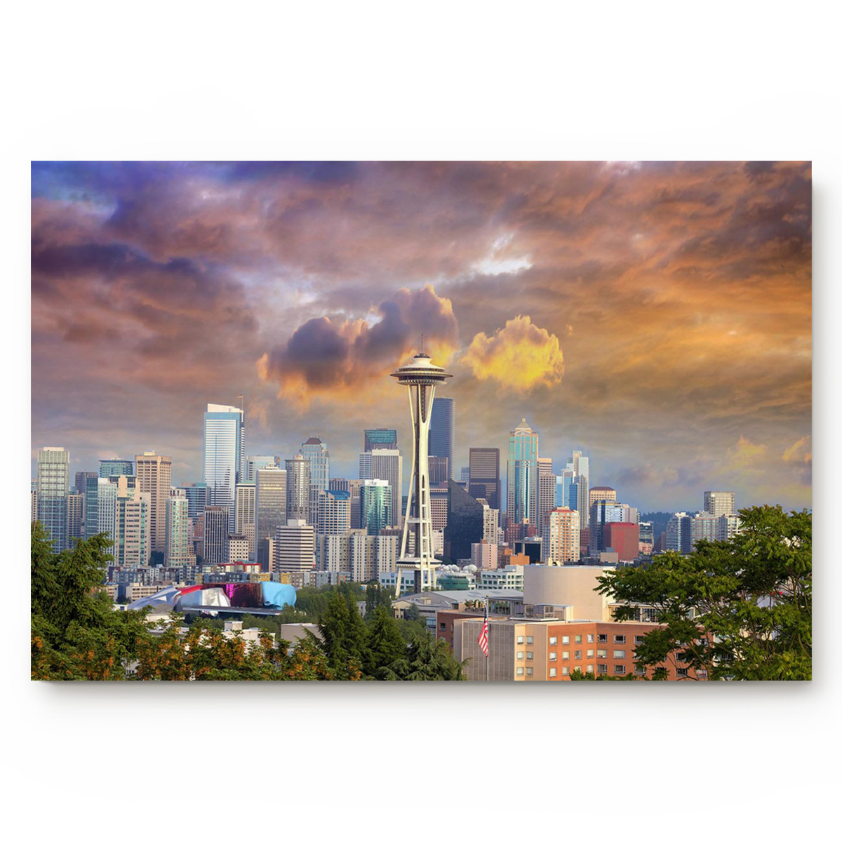 Seattle City Building Sunset And Sunset Beautiful View Of Downtown Americana City Bathroom Decor Rug Mat with Non Slip Rubber image