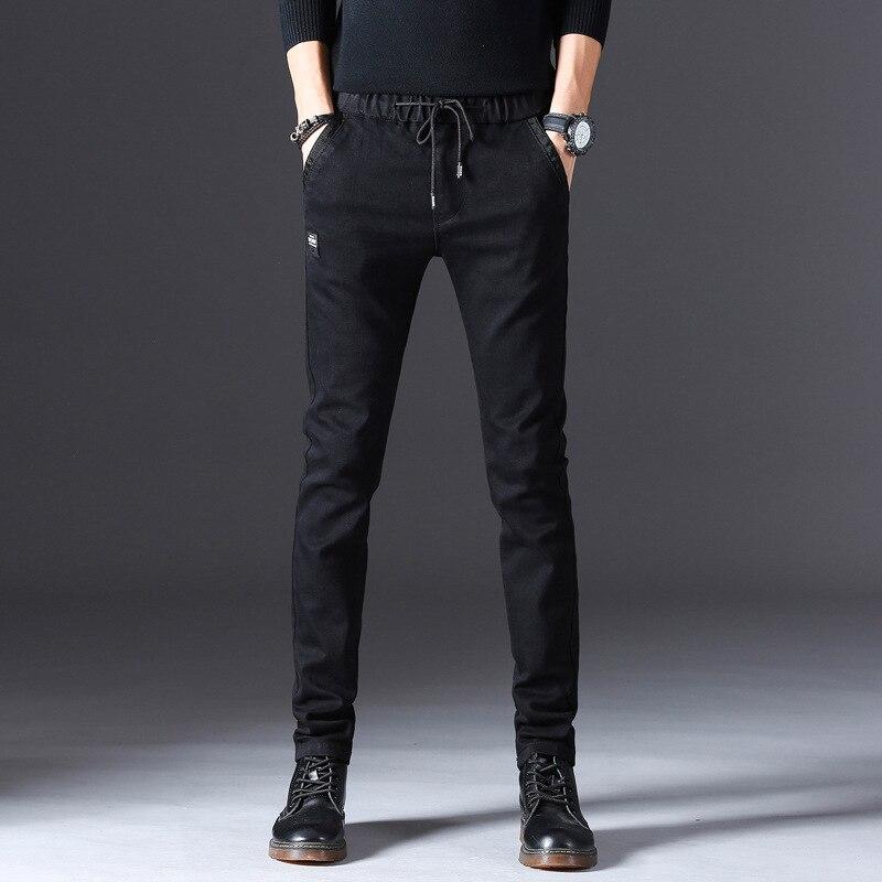 Autumn New Style Men's Elasticity Jeans Korean-style Casual Medium Waist Jeans Pencil Pants MEN'S Trousers Trend Men'S Wear