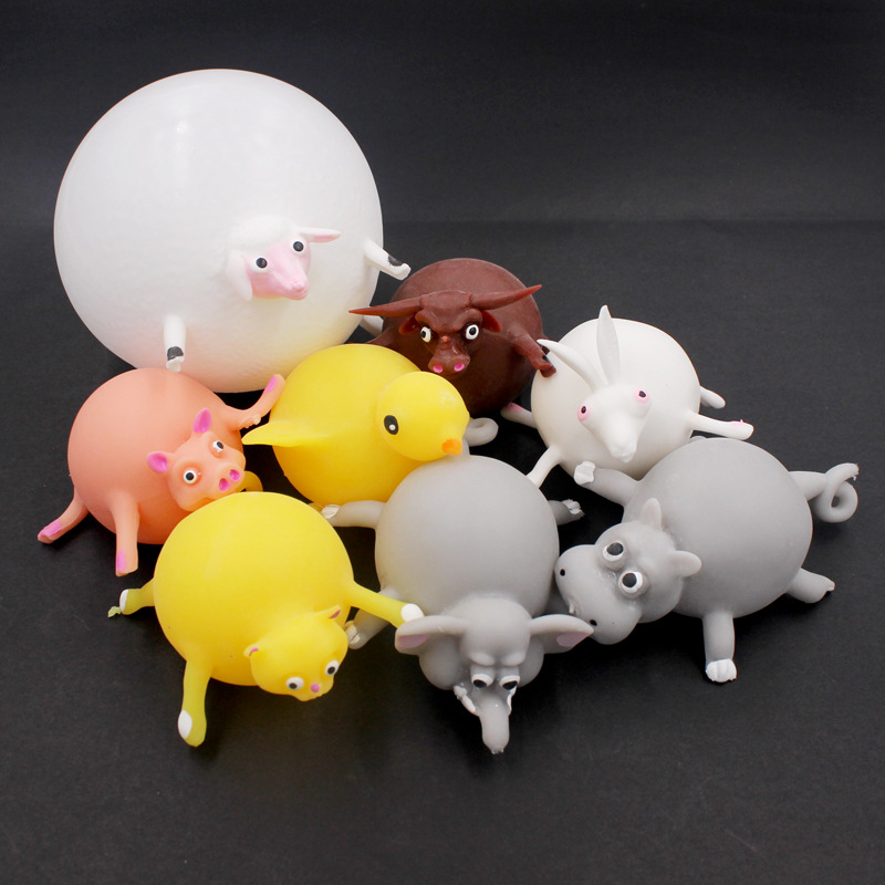 Kawaii Animal Squishy Stress Reliever Toys Cat Elephant Antistress Squeeze Vent Can Blow Balloon Funny Toys