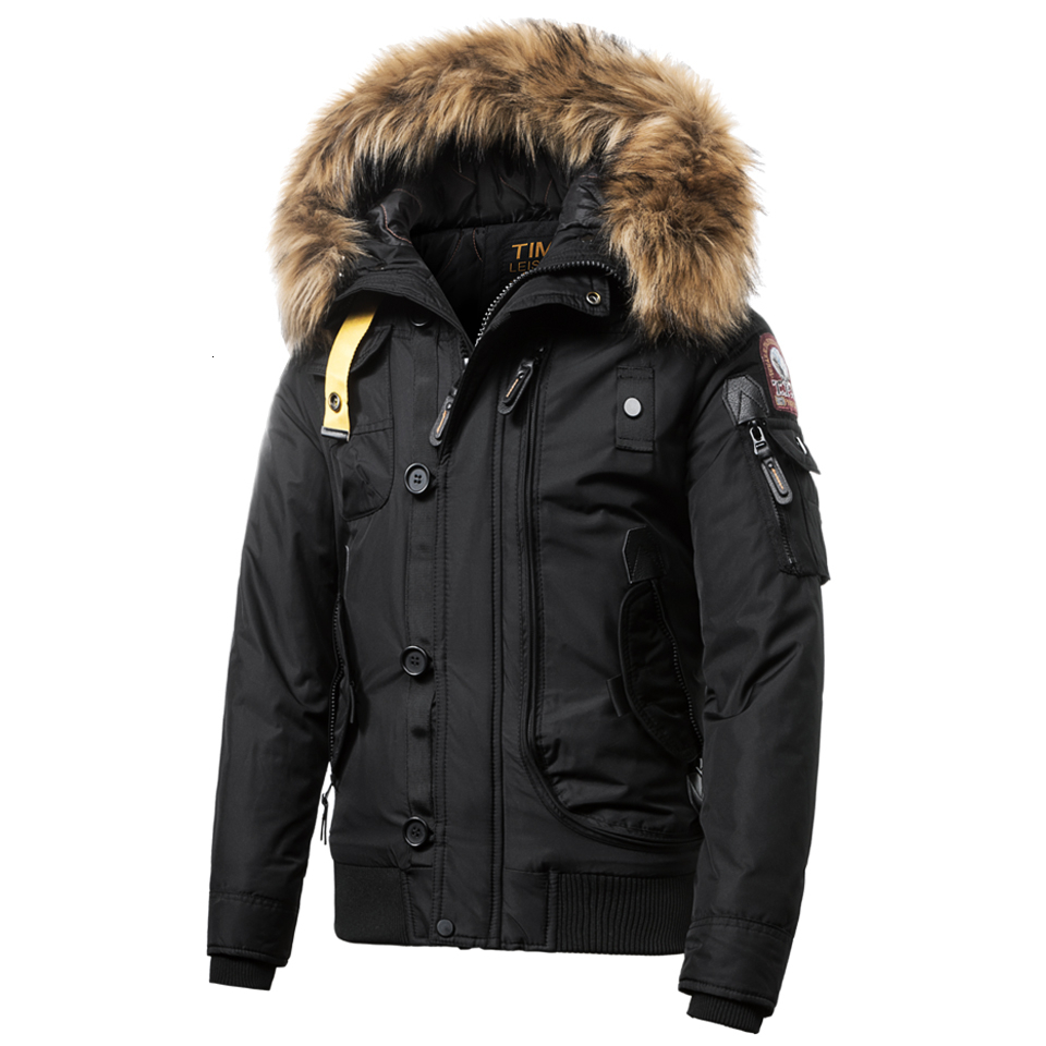 Jacket Men Parkas Fur-Collar Hooded Zipper Warm Vintage Waterproof Outdoor Winter New title=
