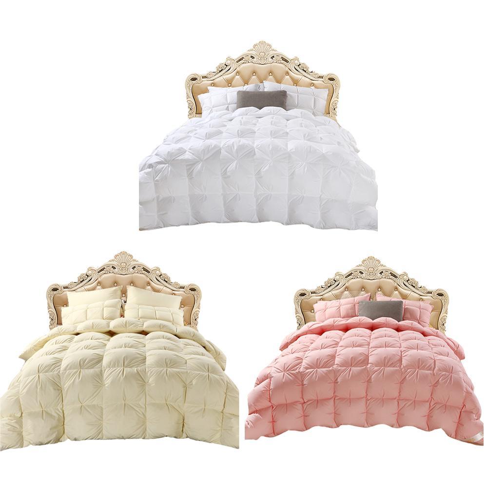Home Quilts Hotel Custom Luxury Four Seasons Goose Down Duvet Core Exquisite Sandwich Pleat Design Double Quilt Core Washable Comforters & Duvets     - title=