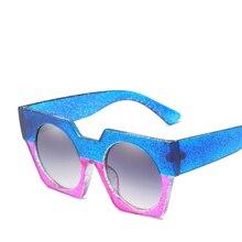 2019 New Arrival Fashion Sunglasses Flat Top Oversize Square Women Retro Gradient Sun Glasses Big Frame