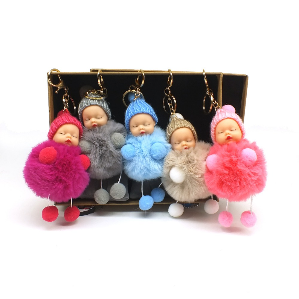 Sleeping Baby Foot Doll Keychain Women Pompom Rabbit Fur Fur Ball Bow Key Chain Car Hand Doll Keyring Key Holder Charm Jewelry