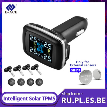 E-ACE K06 Mini Car TPMS Cigarette lighter Type Tire Pressure Monitoring System Real-time Digital Display Security Alarm Systems