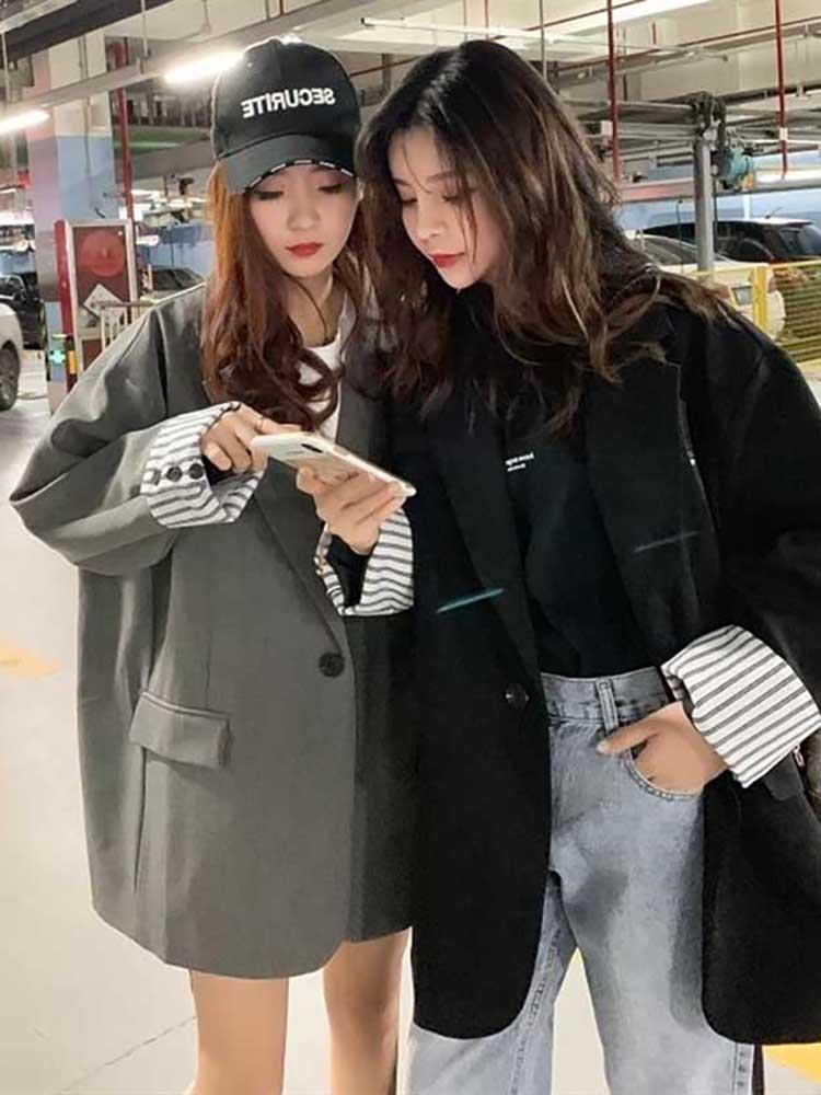 Cardigans Women Blazer Korea Fashion New Women Pocket Elegant Patchwork Single Button 2019 Autumn Casual Coat