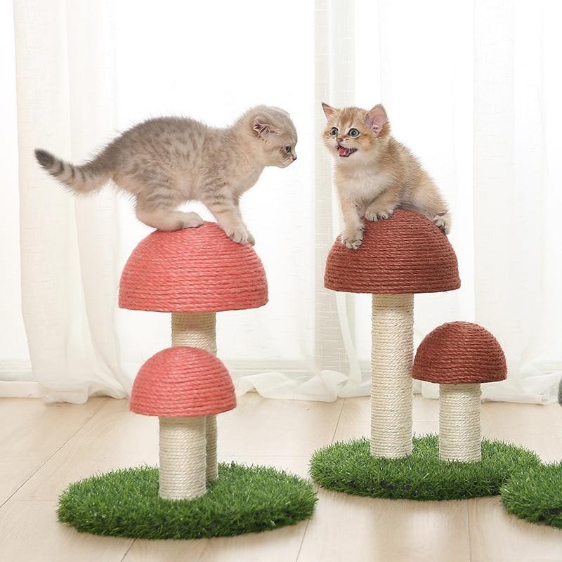 Kitten Cute Mushrooms  Cat Scratcher Board Furniture Protect Pet Health Sisal Mat Claws Care Scratch Toy Post