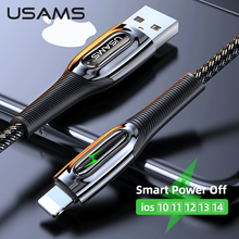 USAMS USB Cable 2.4A Fast Charging For iPhone 12 11 Pro Max Xs X 8 7 6 Plus Smart Power Off Cable For ipad air mini Data Cable