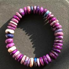 証明書 10 ミリメートルナチュラルスギライト紫色の南アフリカ最高品質の長方形ビーズブレスレットバングルストレッチ女性 AAAAA