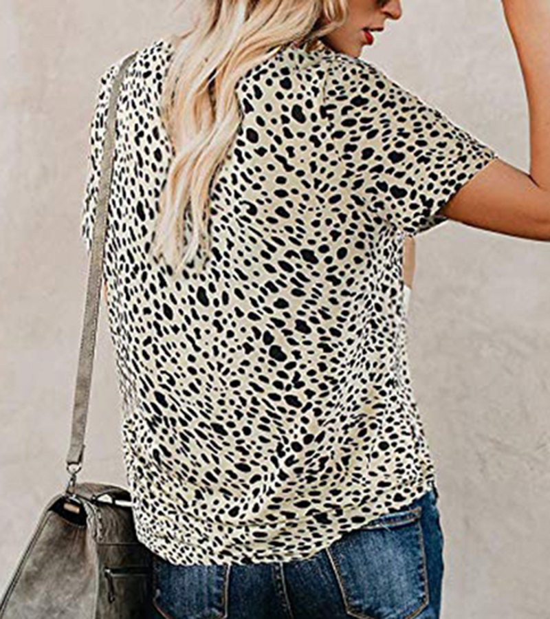 2020 Spring Summer New Women T-shirt Casual Leopard Print Round Neck Short Sleeve Shirt Ladies Tops Tees Womens Clothing  (10)
