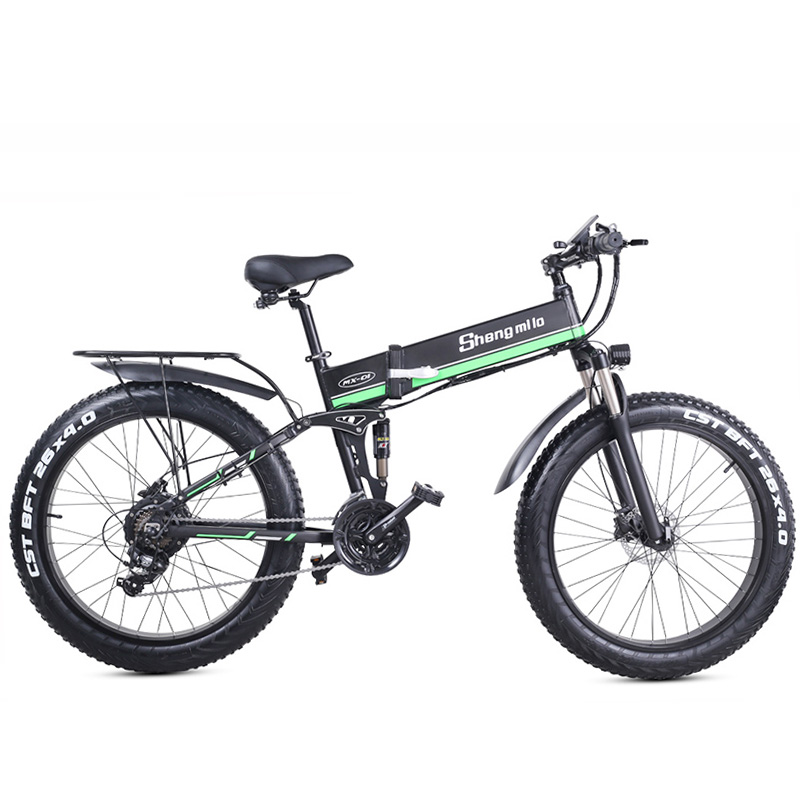 MX01 1000W Strong Electric Snow Bike, 5-grade Pedal Assist Sensor, 21 Speed Fat Bike, 48V Extra Large Battery E Bike