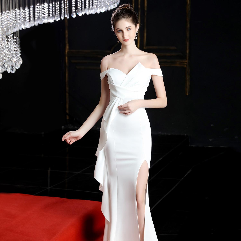 YULUOSHA Women Dress Red For Bridemaide Sleeveless Mermaid Satin Ribbons Floor-Length Sexy Dress Wedding Guest Dress Elegant