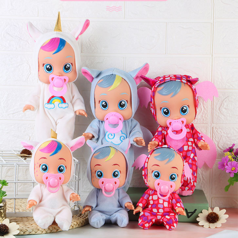 3D Cry Babies Dolls Unicorn Crying Baby Girl Toys Child Doll Tearing Full Vinyl Silicone Body Birthday Surprise Gift For Kids