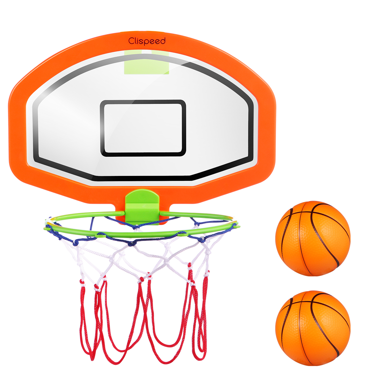Clispeed Kids Basketball Hoop Set Cartoon Hanging Wall Mounted Mini Ball Hoop With Net Portable Educational Indoor Toy