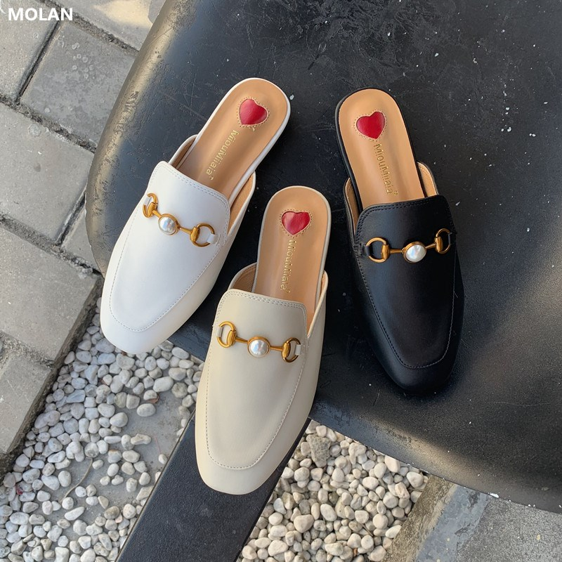 MOLAN Brand Designers 2020 New Luxury Pearl Metal Chain Embroider Red Heart Lady Leather Slides Slip On Loafers Mules Flip Flops