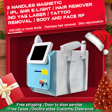 New color! 3 in 1 Portable 360 Megneto IPL OPT SHR Elight hair removal machine RF ND YAG Laser 1064 tattoo remove beauty Machine