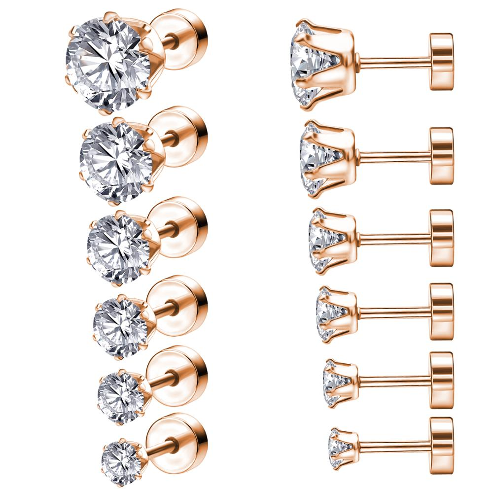 ZEMO 6pair/lot 3-8mm 316L Stainless Steel Crystal Studs Earrings Set With Big Zirconia For Women Rhinestone Rose Gold Ear Studs