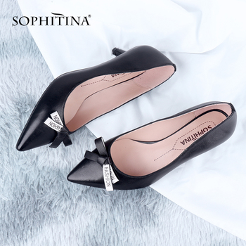SOPHITINA Genuine Leather Pumps Women Pointed Toe Butterfly knot Thin Heels Concise Pumps  Classics Shallow Shoes Women SC643 sophitina classics wedding lady pumps sexy shallow party slip on thin high heels pumps pointed toe high quality women shoes d56