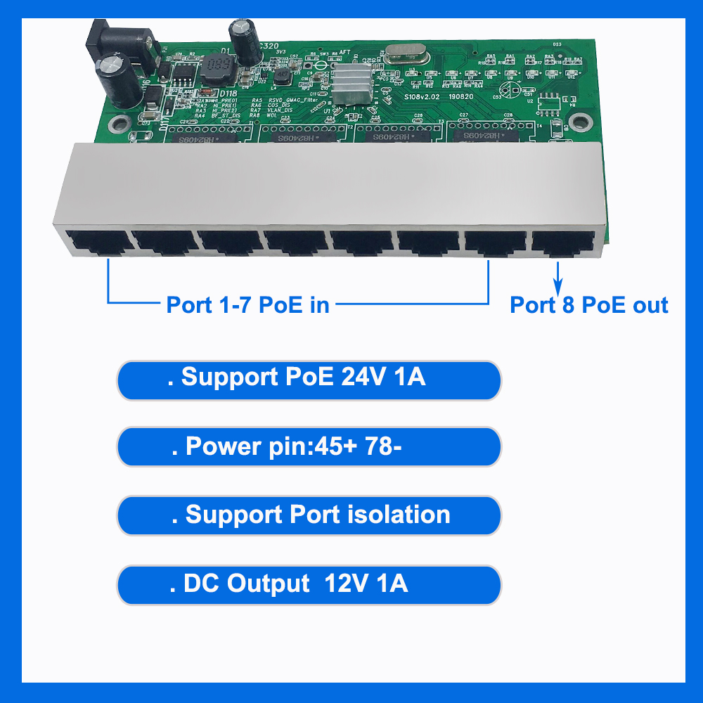 Free Shipping 8 Reverse Switch Pcb Board  8 Port 10/100M Ethernet Reverse Poe Switch