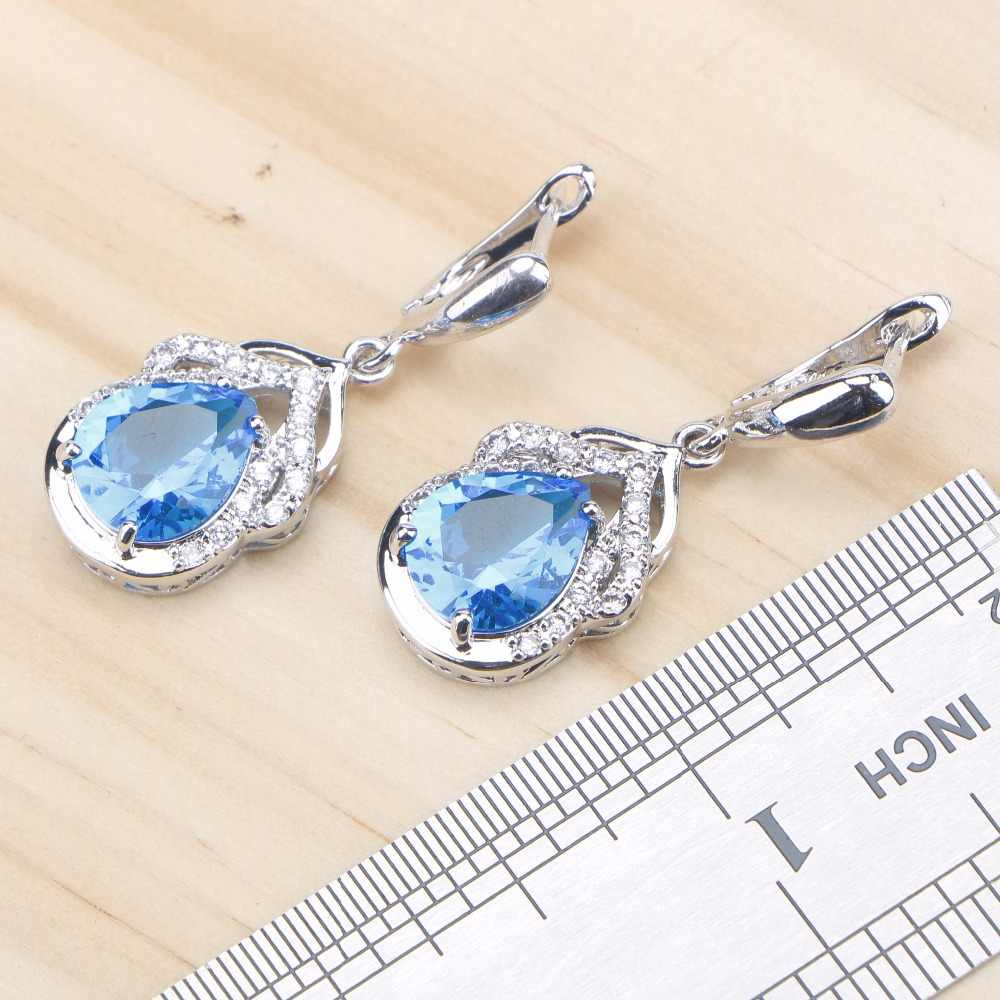 כחול זירקון כסף 925 חתונת תכשיטי סטי נשים קסמי צמידי שרשרת תליון עגילי טבעות סט עם אבנים משלוח אריזת מתנה