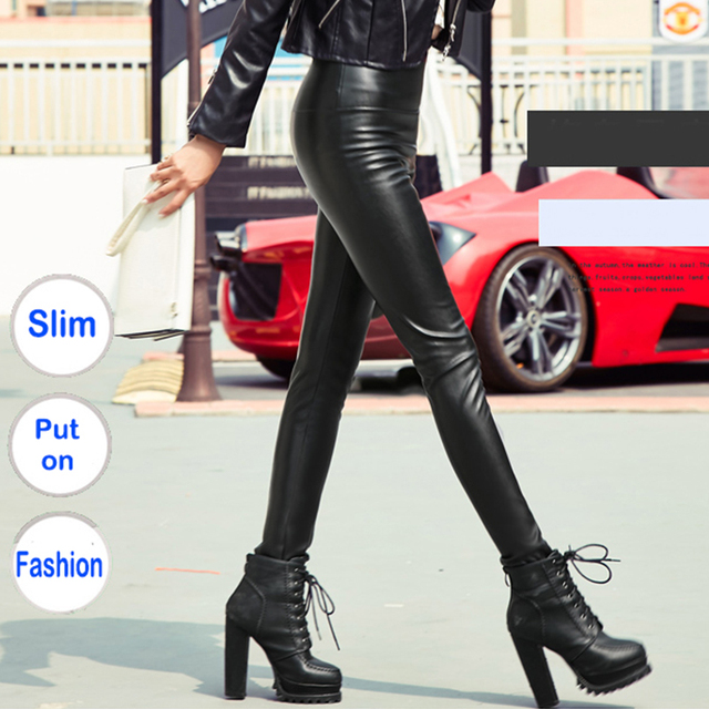 Autumn Winter Women Thin Velvet PU Leather Pants Female Sexy Elastic Stretch Faux Leather Skinny Pencil Pant Women Tight Trouser 2