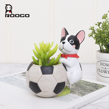 Roogo Resin Decorative Flower Pots Planters Cute Dog Ball Succulent Pot Orchid Cachepot For Flowers Home Garden Balcony Decor