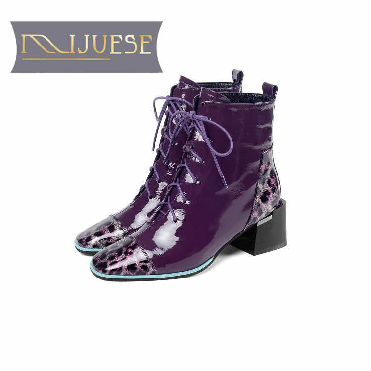 MLJUESE 2020 kadın yarım çizmeler inek deri kış kısa peluş mor renk kare ayak yüksek topuklu çizmeler kadın botları boyutu 41