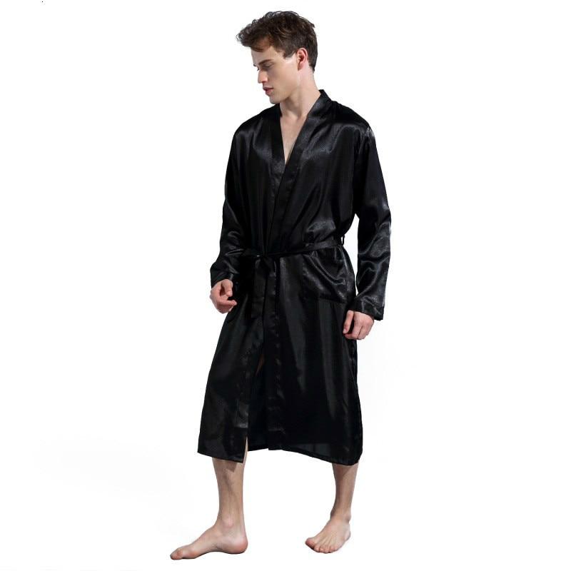 Mens Silk Satin Robes Pajamas Long Sleeve Solid Sleepwear Kimono Male Bathrobe Leisure Men Loungewear Dressing Gown 2019