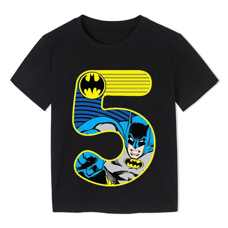 Summer 2020 Happy Birthday Batman Hero Number Kids T-shirts Superhero Boy Tshirt Baby Girl Kid Clothes 3-9t