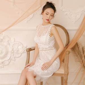 Image 4 - Yhotmeng 2019 new lace temptation sexy pajamas sweet fairy style openwork straps nightdress set four colors