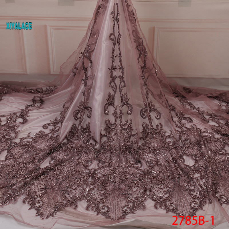 Hot Handmade Lace Nigerian Beaded Lace Fabrics African French Lace Fabric 2019 High Quality Lace Tulle For Party Dress YA2785B-1