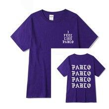 Camiseta masculina do kanye west pablo, i feel like paul print, mangas curtas, anti temporada 3, camiseta hip hop social camiseta do rapper do clube