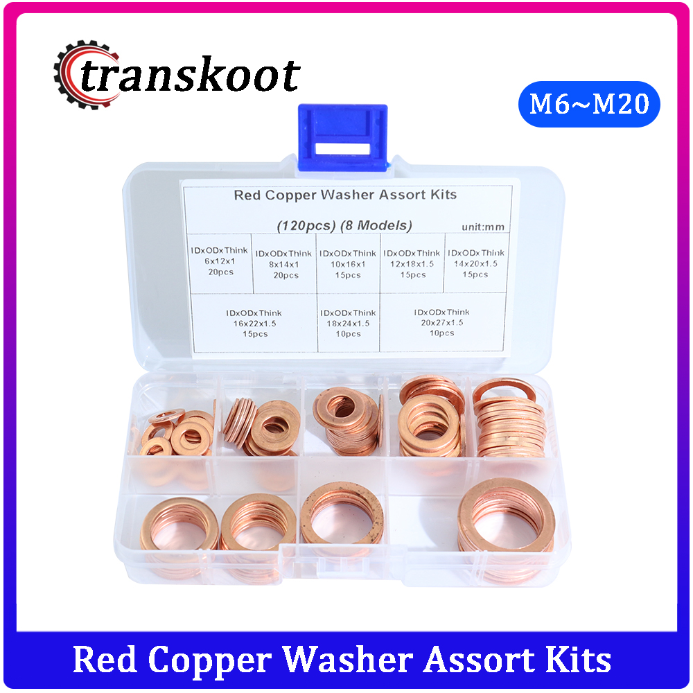 120pcs Red Copper Brass Gaskets Assortment Flat Washers Sealing Ring Set with Box For Hardware Accessories
