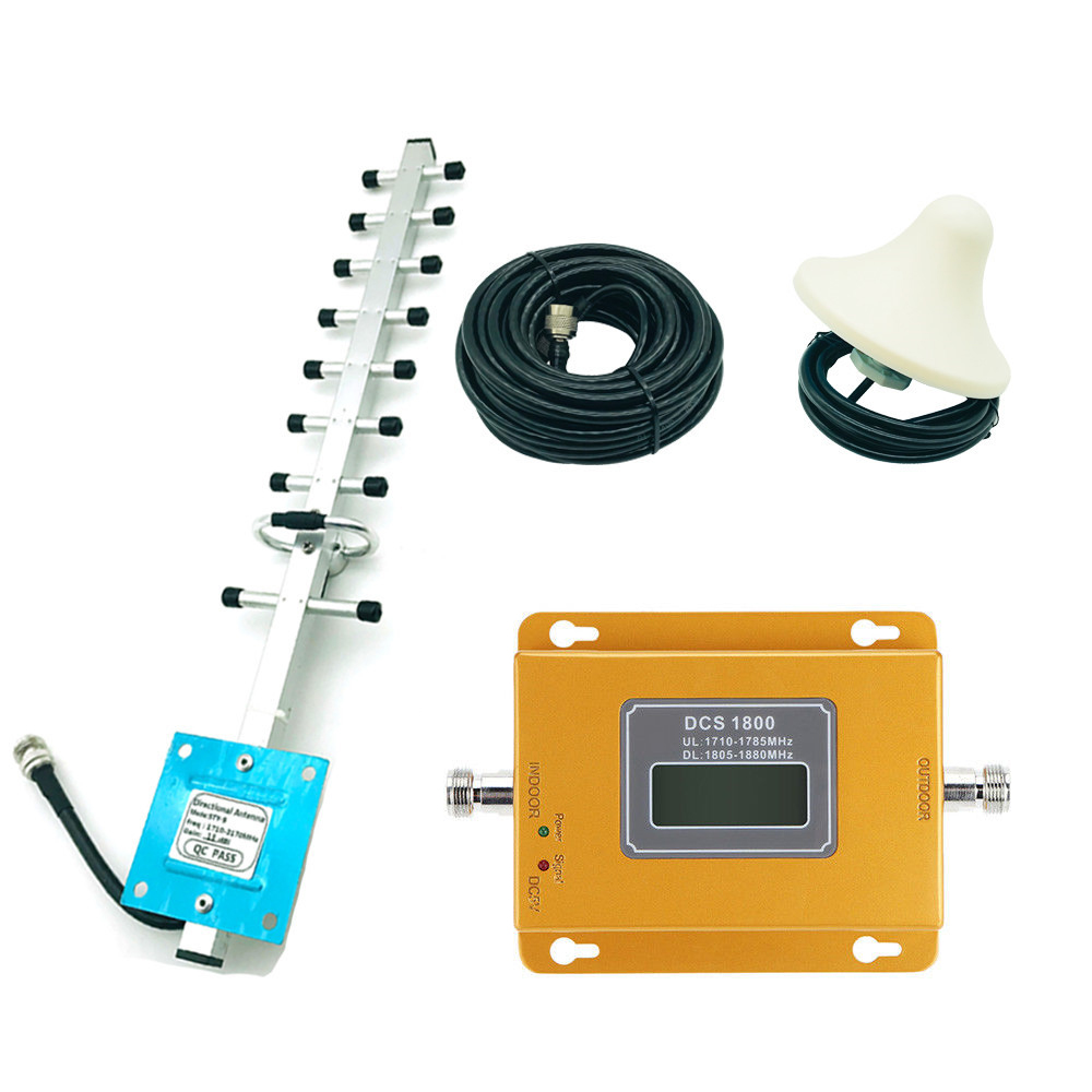 LTE 4G DC 1800MHZ Cellular Signal Amplifier LCD Display Mobile Phone Signal Booster With Yagi Antenna 3m Ceiling Aerial Set