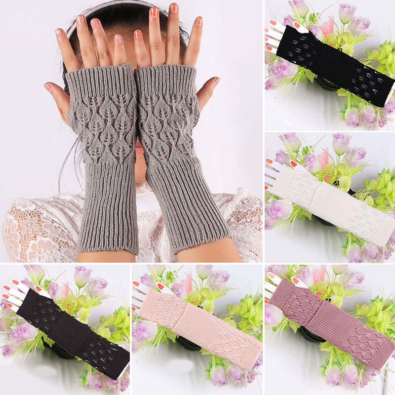 Autumn Women Knitted Fingerless Soft Gloves Sweet Thick Knitted Woolen Arm Warmer Thumb-hole Sleeve Hollow Mittens