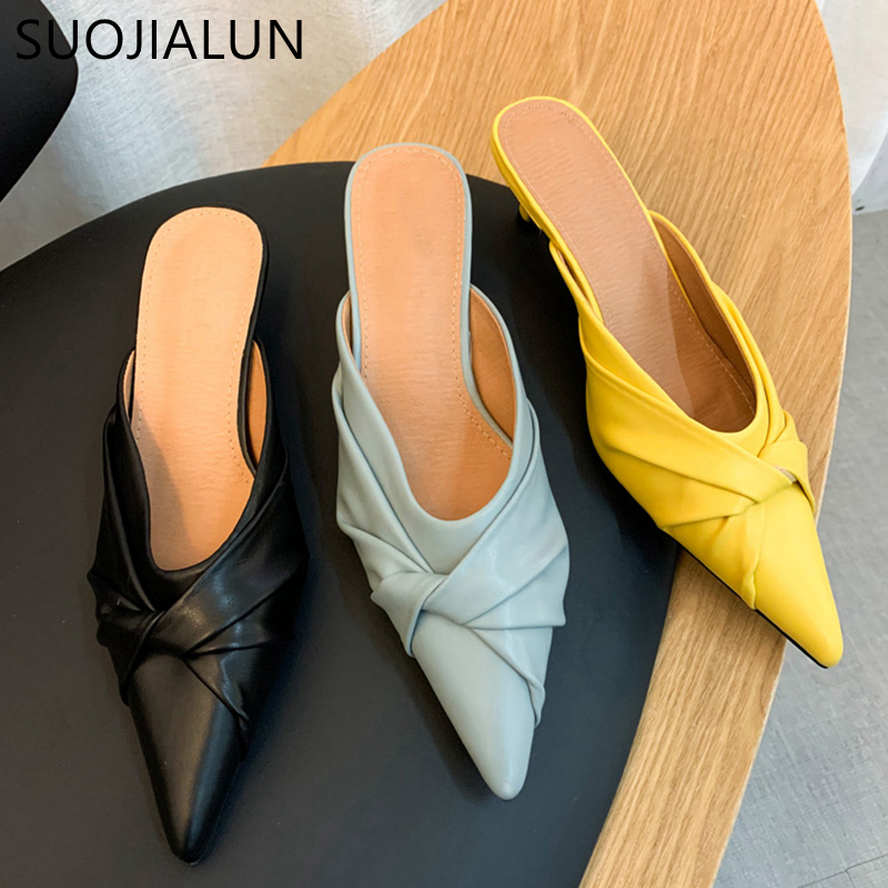 SUOJIALUN Women Elegant Slippers Fashion Brand Bow-knot Female Mules Low Heel Pointed Toe Ladies Outdoor Slides Sandal Shoes