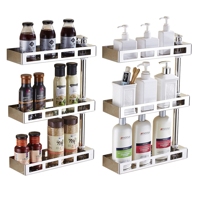 Stainless Steel Hole Punched Kitchen Rotating Storage Shelf Spice Rack Toilet Three Layer Storage Wall Hangers Manufacturers Who