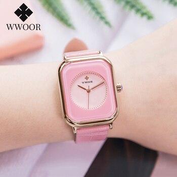 цена WWOOR Rectangle Wrist Watches Womens Fashion Ladies Watch Purple Top Brand Luxury Quartz Waterproof Watch Female zegarek damski онлайн в 2017 году